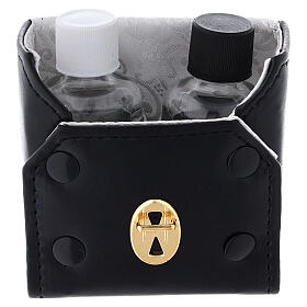 Glass cruets of 30 ml with artificial black leather bag s2