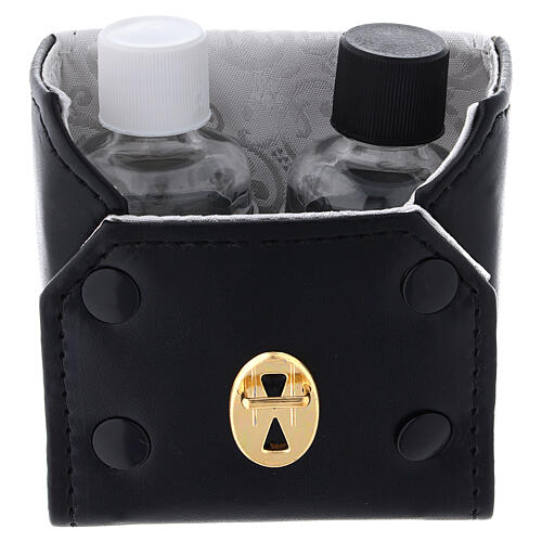 Glass cruets of 30 ml with artificial black leather bag 2