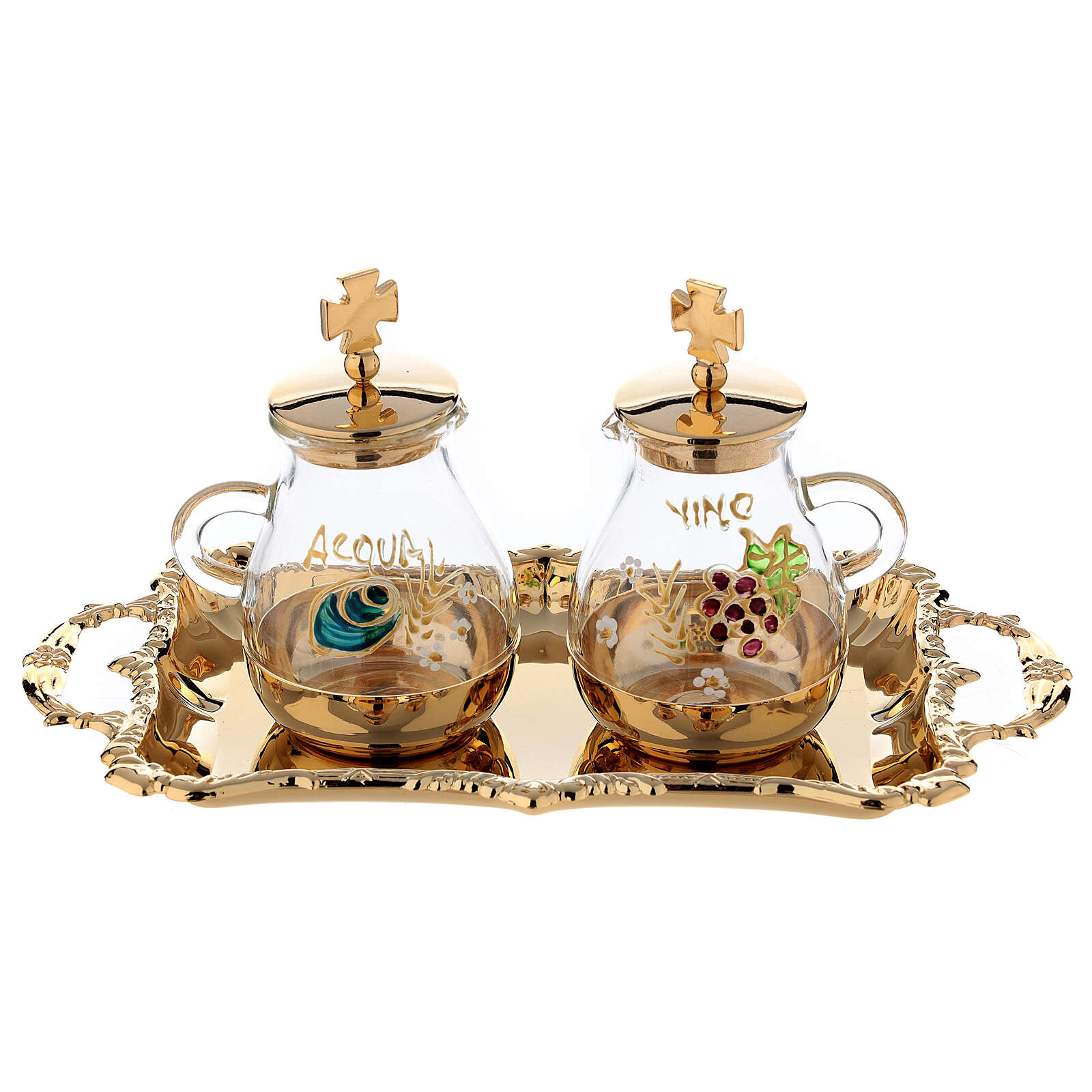 Gold plated and painted cruet set 4