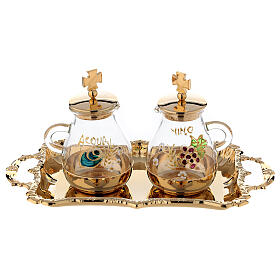 Gold plated and painted cruet set s1