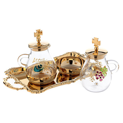 Gold plated and painted cruet set 2