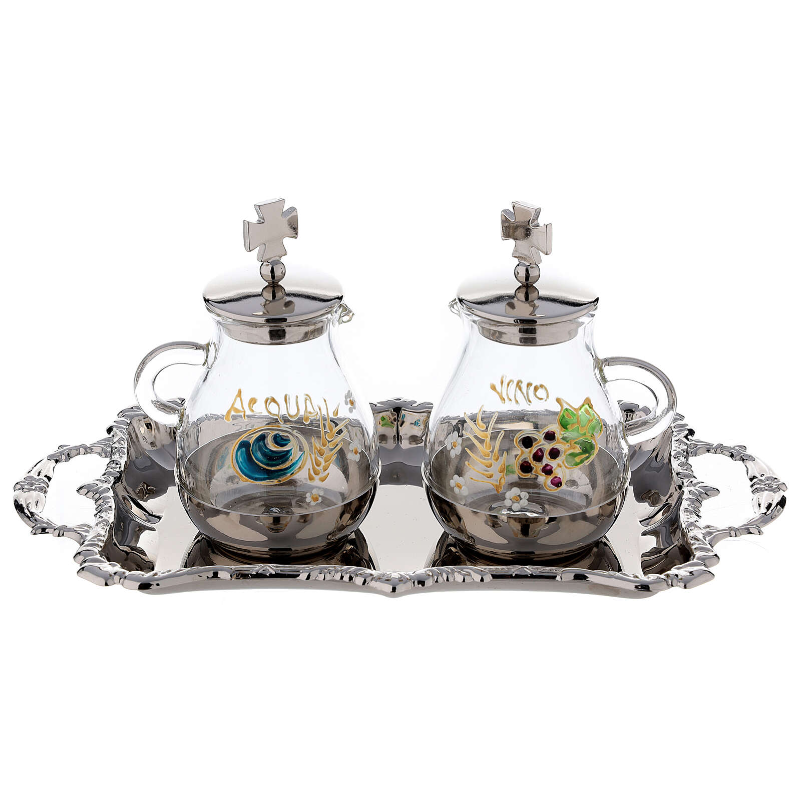 Silver plated and painted cruet set 4
