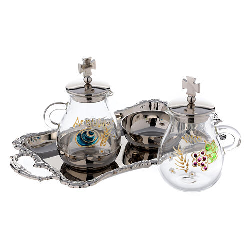 Silver plated and painted cruet set 2