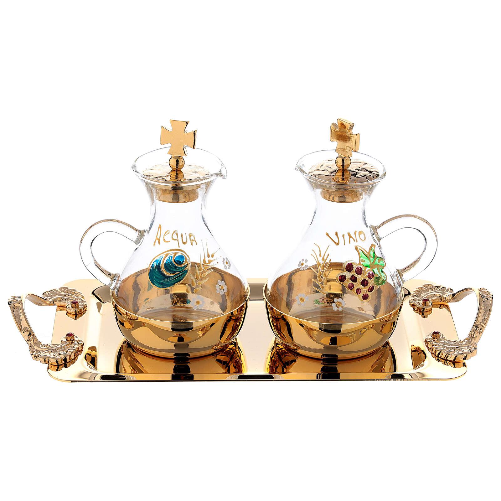 Servizio acqua e vino dipinto a mano in ottone dorato 4
