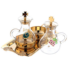 Hand painted cruet set in gold plated brass s2