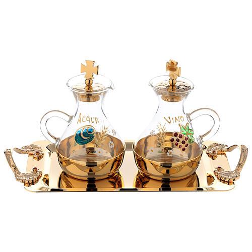 Hand painted cruet set in gold plated brass 1