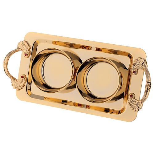 Hand painted cruet set in gold plated brass 3