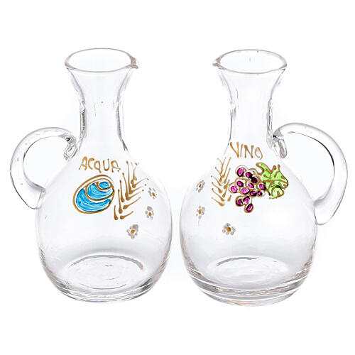 Cruet set in glass and nickel-plated brass Venise model with decorative ring 200 ml 1