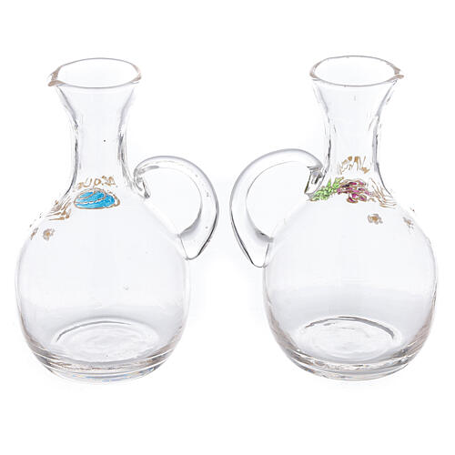 Cruet set in glass and nickel-plated brass Venise model with decorative ring 200 ml 2