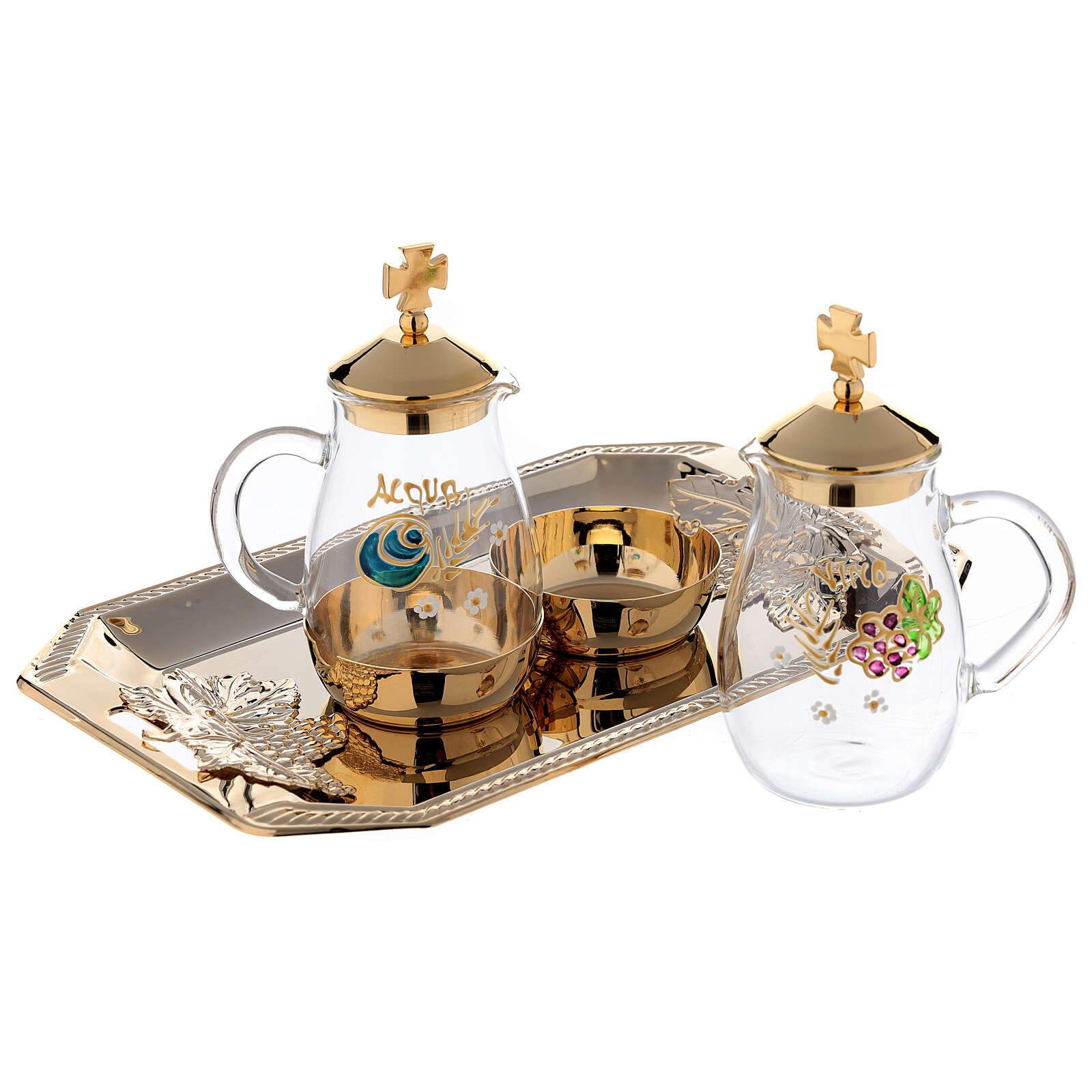 Como hand painted cruet set 160 ml with rectangular brass tray 4