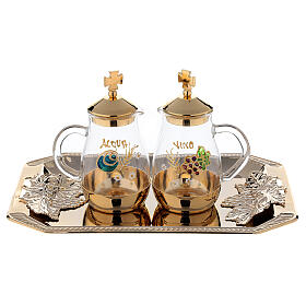 Como hand painted cruet set 160 ml with rectangular brass tray s1