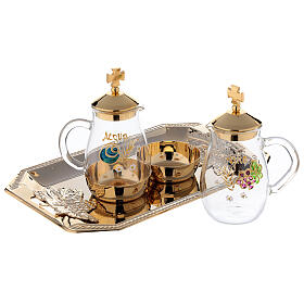 Como hand painted cruet set 160 ml with rectangular brass tray s2