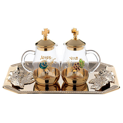 Como hand painted cruet set 160 ml with rectangular brass tray 1