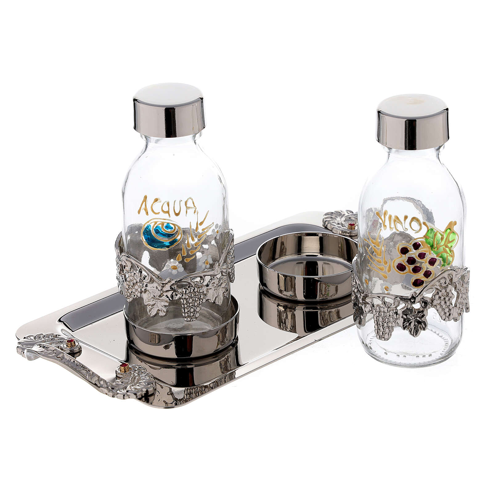 Hand painted cruet set in nickel-plated brass 125 ml grapes and leaves 4