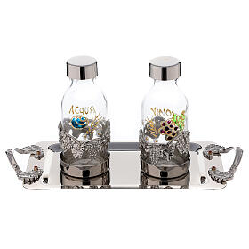 Hand painted cruet set in nickel-plated brass 125 ml grapes and leaves s1