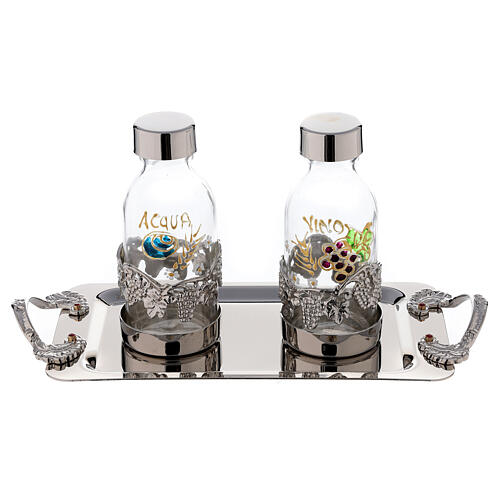 Hand painted cruet set in nickel-plated brass 125 ml grapes and leaves 1