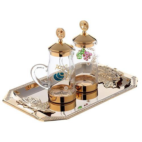 Fiesole cruet set gold plated brass and handmade decorations 130 ml 3