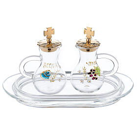 Parma hand painted cruets of 75 ml with tray in glass s1