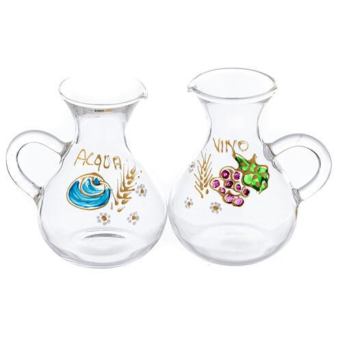 Set burettes eau et vin peintes à la main Rome 130 ml 1