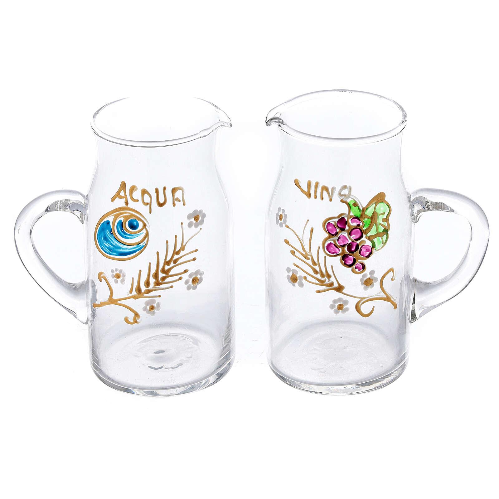 Pareja vinajeras Fiesole forma cilíndrica vidrio pintadas a mano ml 130 4