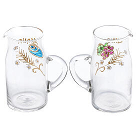 Pareja vinajeras Fiesole forma cilíndrica vidrio pintadas a mano ml 130 s2