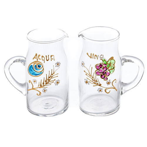 Pareja vinajeras Fiesole forma cilíndrica vidrio pintadas a mano ml 130 1