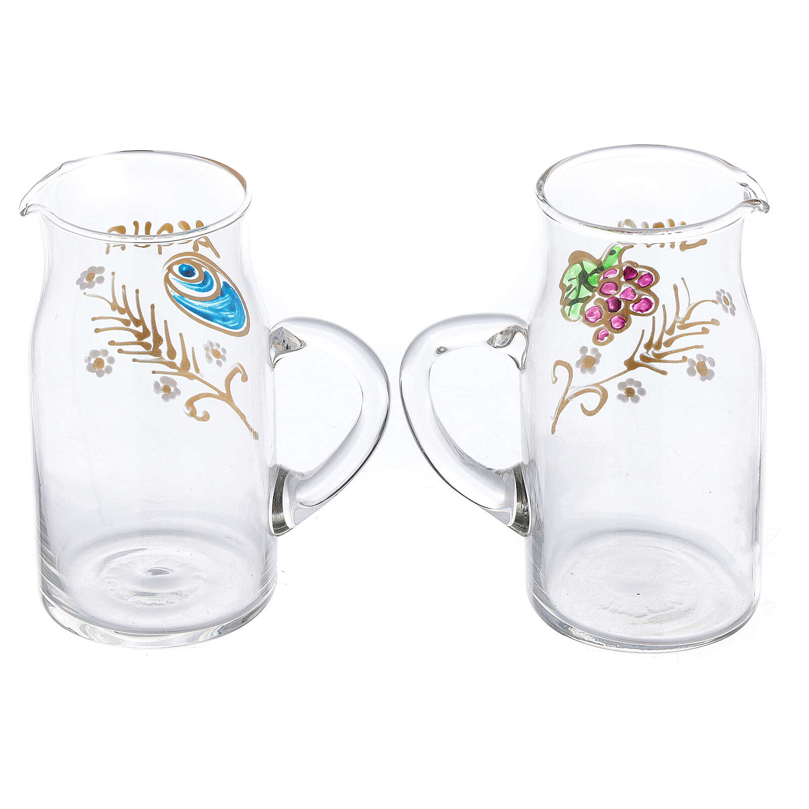 Fiesole cylindrical cruets hand painted glass 130 ml 4
