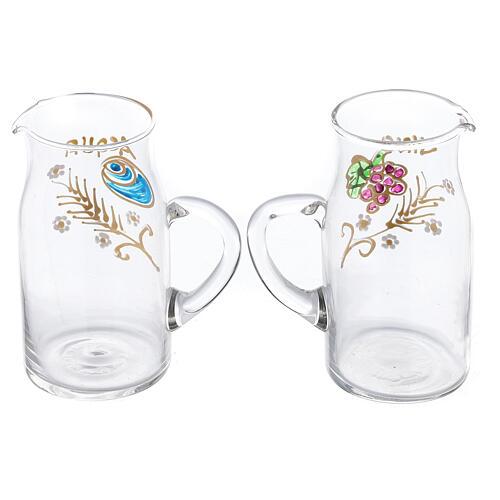 Fiesole cylindrical cruets hand painted glass 130 ml 2
