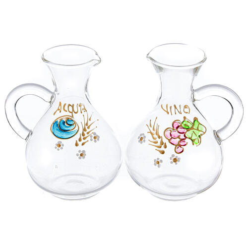 Water and wine Palermo ampoules in hand painted glass ml 140 1