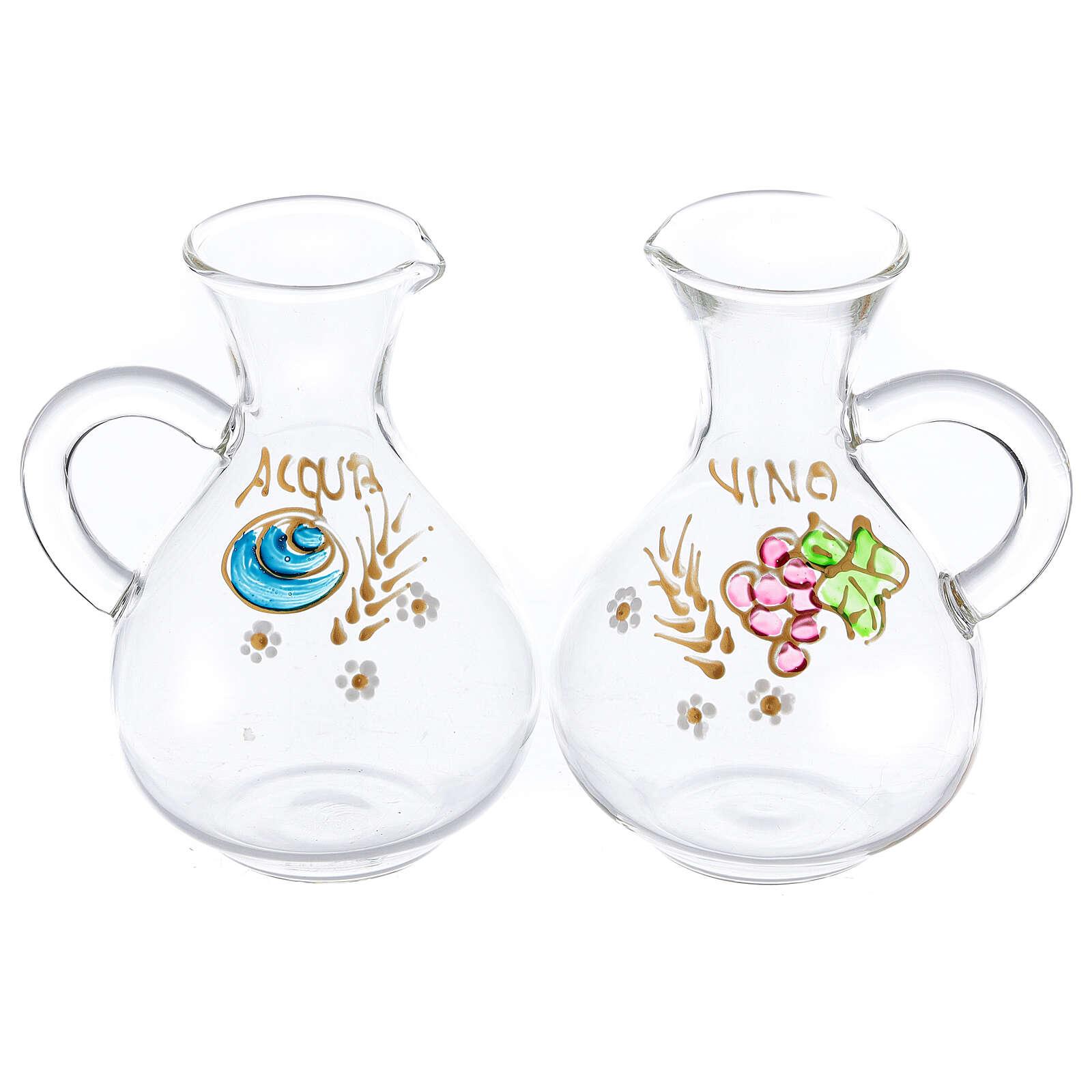 Vinajeras agua y vino Palermo de vidrio pintado a mano ml 140 4