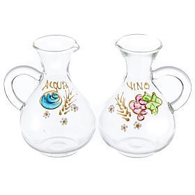 Vinajeras agua y vino Palermo de vidrio pintado a mano ml 140 s1