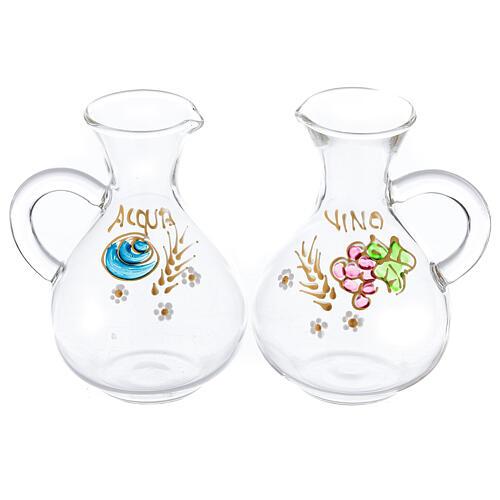 Vinajeras agua y vino Palermo de vidrio pintado a mano ml 140 1