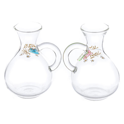 Vinajeras agua y vino Palermo de vidrio pintado a mano ml 140 2
