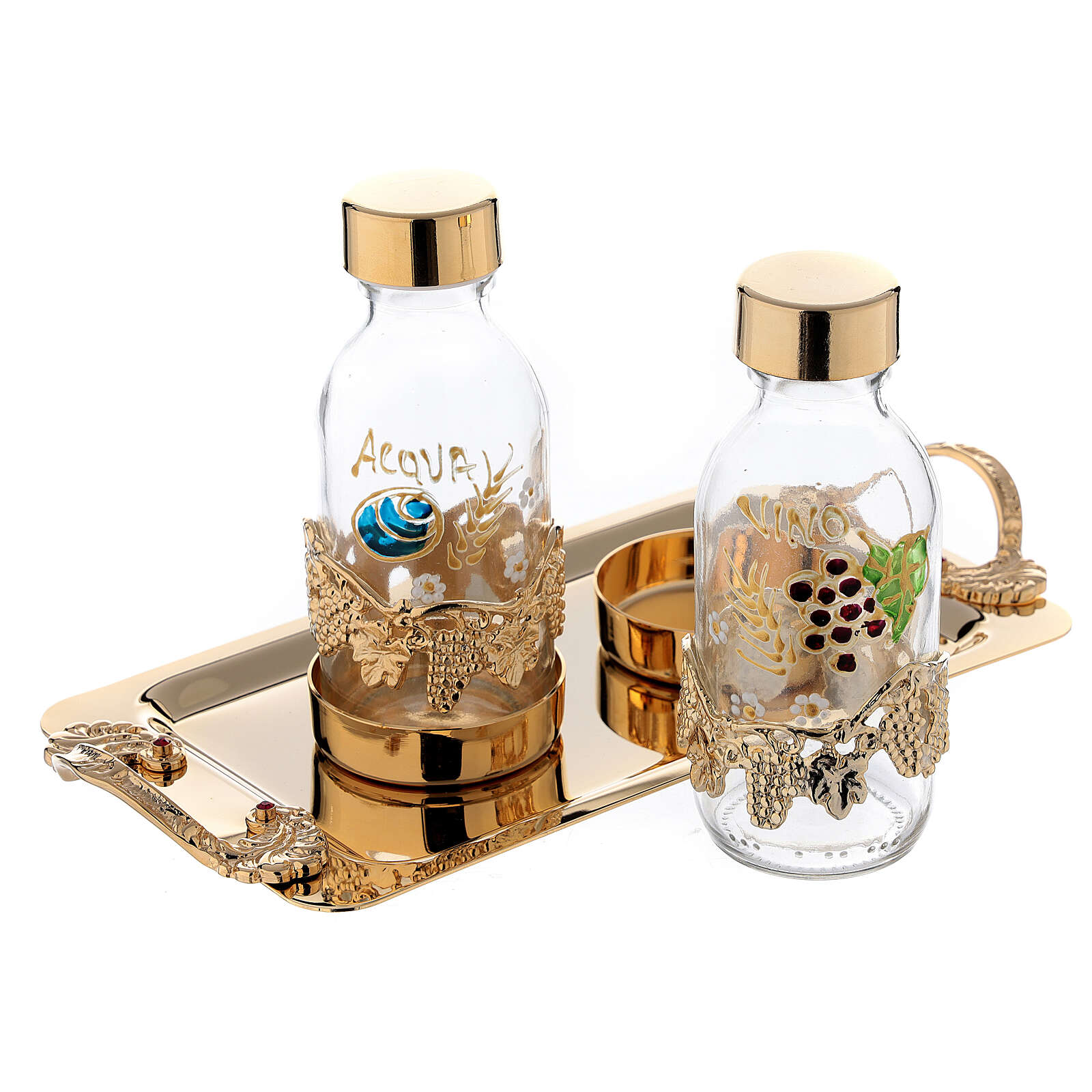 24-karat gold plated brass cruet set hand painted leaves and grapes 125 ml 4