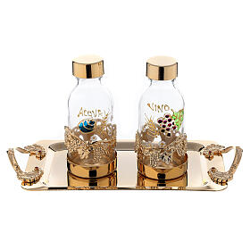24-karat gold plated brass cruet set hand painted leaves and grapes 125 ml s1
