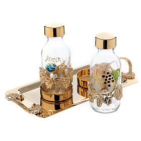 24-karat gold plated brass cruet set hand painted leaves and grapes 125 ml s2