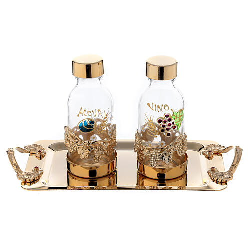 24-karat gold plated brass cruet set hand painted leaves and grapes 125 ml 1