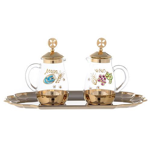 Set of Como cruet 24-karat gold plated brass 160ml 1