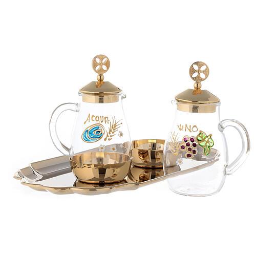 Set of Como cruet 24-karat gold plated brass 160ml 2