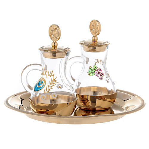 Water and wine service Parma model in golden brass 24K ml 75 3