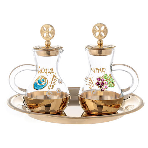 Set of Parma cruets in 24-karat gold plated brass 75 ml 1