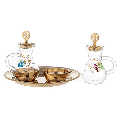 Set of Parma cruets in 24-karat gold plated brass 75 ml 2