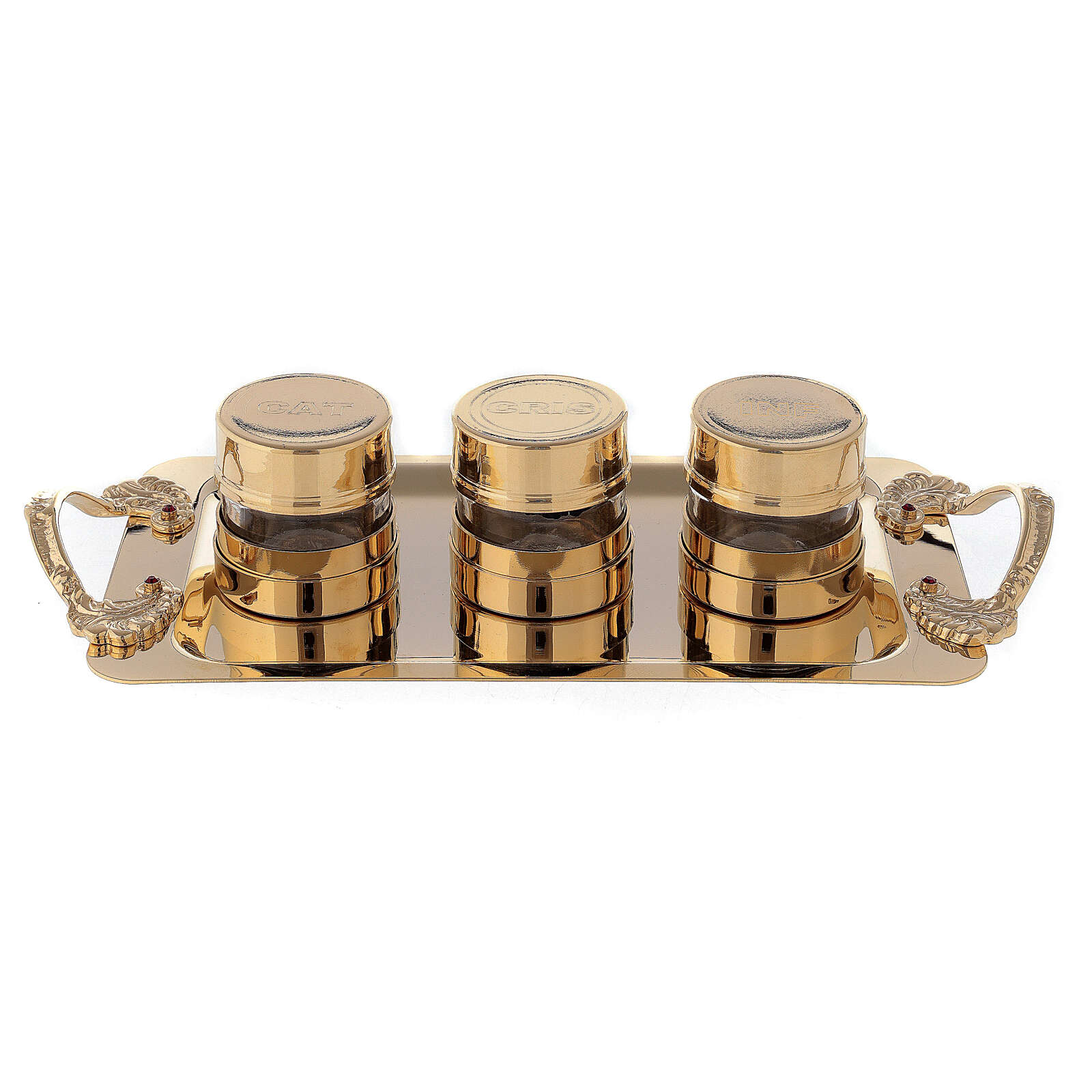 Set pour Huiles Saintes en laiton doré 24K 4