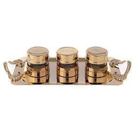 Set pour Huiles Saintes en laiton doré 24K s1