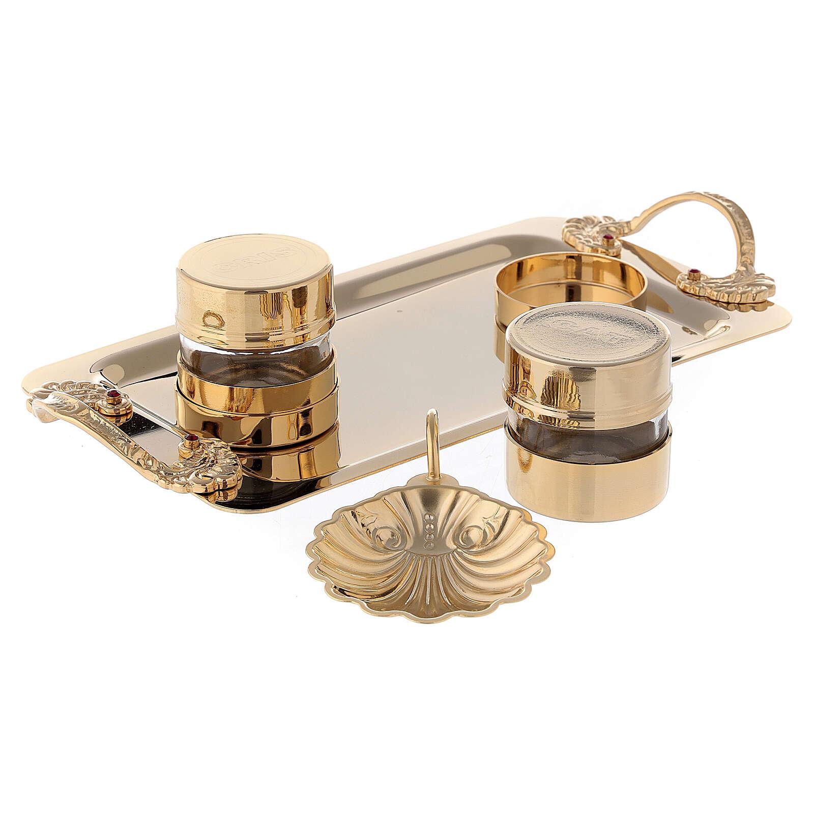 Set deux ampoules huiles saintes pour baptême avec coquillage dorure 24K 4