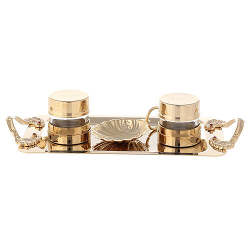 Double oil stock for Baptism with 24-karat gold plated shell 1