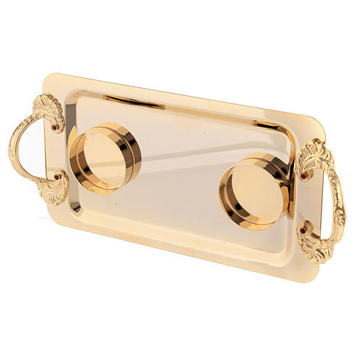 Double oil stock for Baptism with 24-karat gold plated shell 5