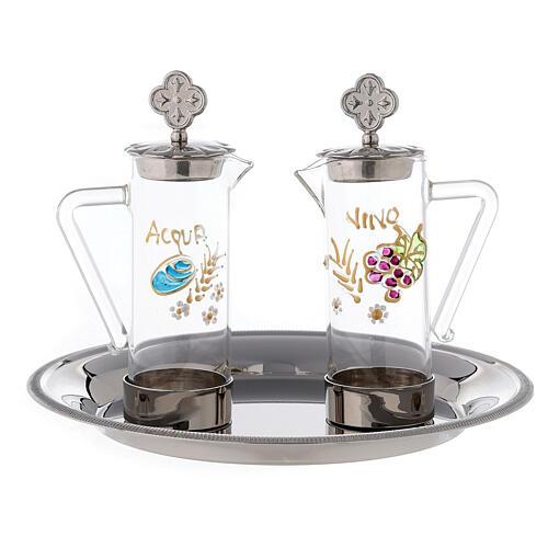 Set eau et vin liturgiques modèle Ravenne laiton 24K 60 ml 1