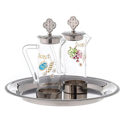 Set eau et vin liturgiques modèle Ravenne laiton 24K 60 ml 3