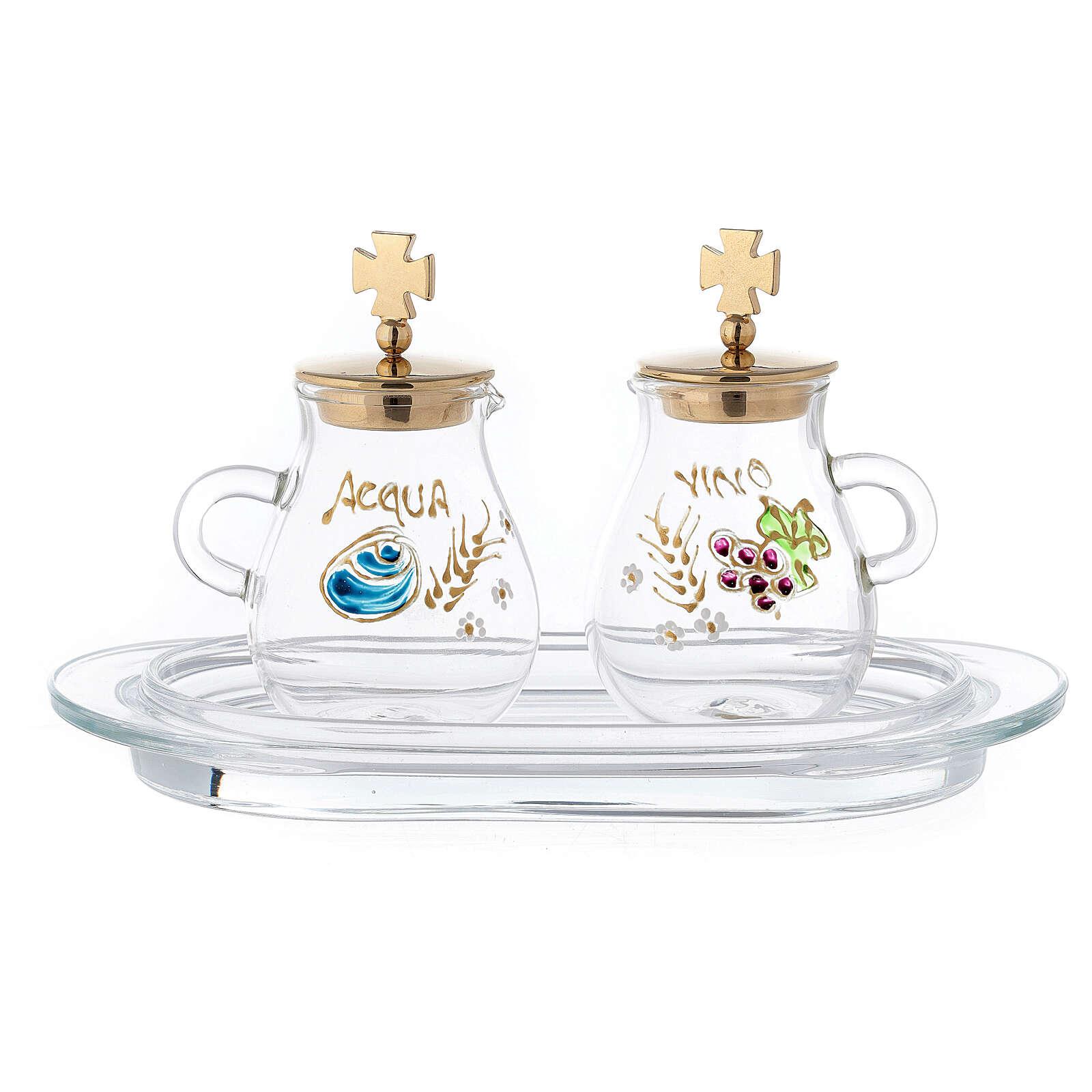Pair of golden brass jugs model Bologna 4